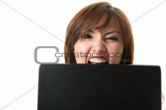 Closeup businesswoman bite laptop.