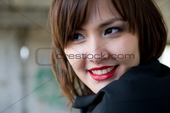 Beautiful Young asian woman with red lips.