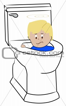 boy being flushed down toilet