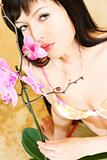 Asian girl with orchid