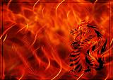 Background with a burning flame and dragon