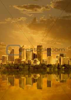 Cityscape in sunset