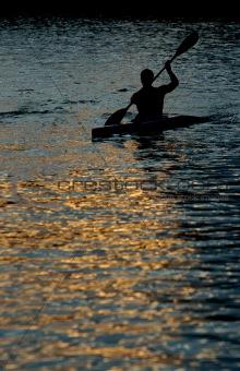 Canoeist at dusk