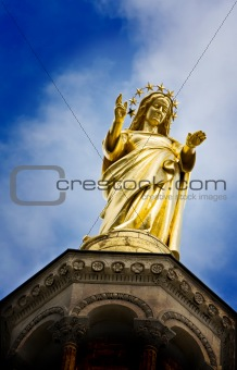 Mary reaching out with hand open