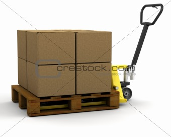 Pallet truck with boxes