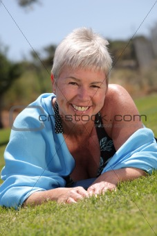 beautiful woman relaxing outdoors