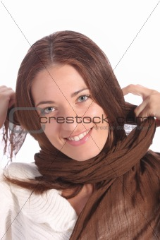 beautiful young a woman with brown scarf