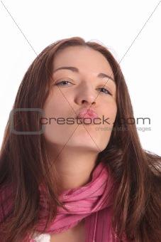 beautiful young a woman sending kiss