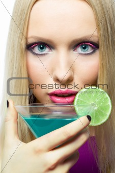 blonde with cocktail