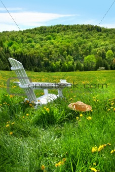 Relaxing on a summer chair in a field of tall grass