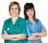 Two young  women doctors