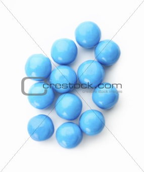 Blue balls on white