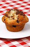 Close-up of chocolate chips muffin