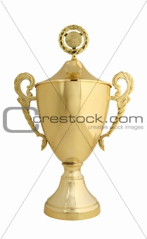 Golden trophy with lid isolated on white