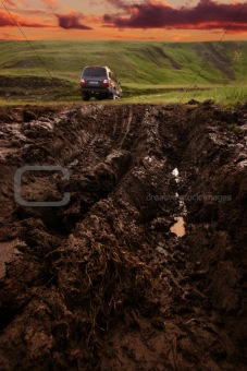 Offroad driving in the wilderness