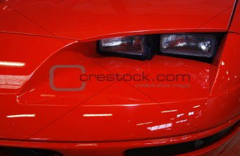 Detail of a red sports car
