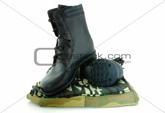 Camouflage uniform and army boots.