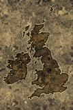 Parchment great britain map