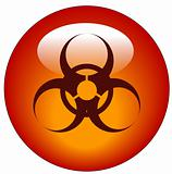 biohazard logo on red button