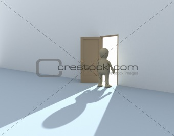 3d person at an open door