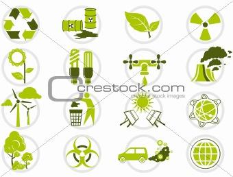 Energy saving and environmental protection icon set