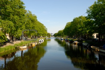 Channel with boats in Den Helder, the Netherlands