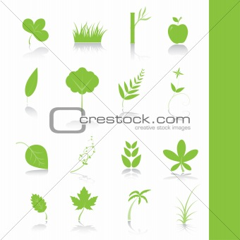 Green plants icon symbol set