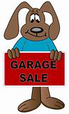dog cartoon with garage sale sign