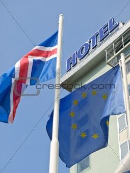 Flags near hotel