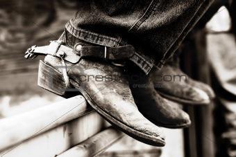 Cowboy Boots & Spurs (BW)