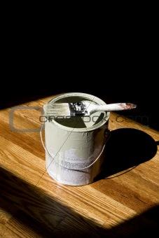 Paint Bucket on Hardwood Floor