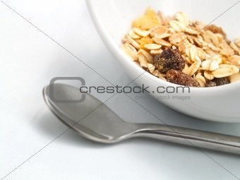 Cereals in a white bowl