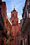 San Francisco Pink Church End of Street Guanajuato Mexico