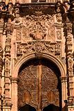Ornate Wooden Door Valencia Church Guanajuato Mexico