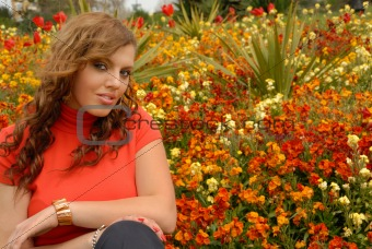 girl in red in beautiful gardens