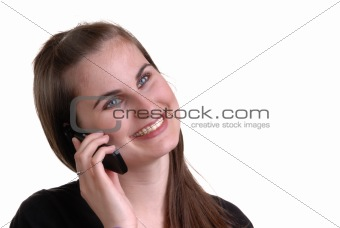 cute young lady on telephone
