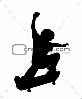 Skateboarding Kid up in the Air - Silhouette