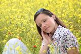 pretty young woman on a meadow
