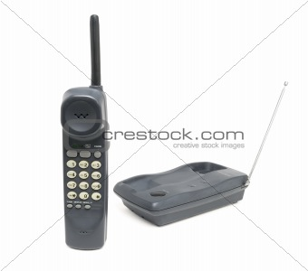 Gray cordless telephone