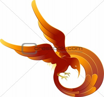 A swooping fiery bird