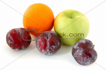 Apple, orange and plums.