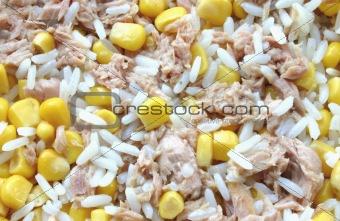 rice, corn and tuna