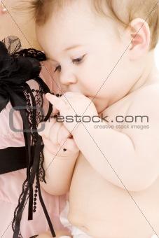 clean baby boy in mother hands