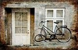 Old House and old bike vintage style