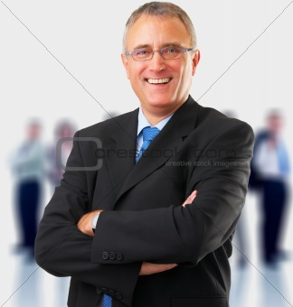 Casual smiling business man standing, casual.