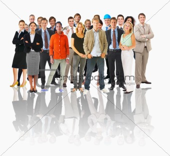 Business groups and different people in a line concept. Large gr