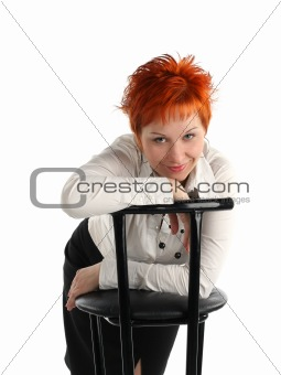 business woman and chair isolated on white background