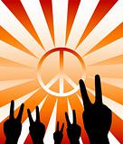 Vector peace and victory symbol
