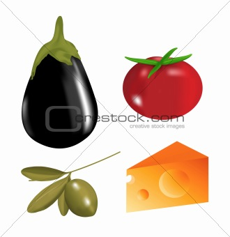 Kitchen design food clip-art isolated over white