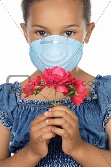 Girl with mask and flower